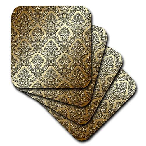 3drose CST 210772 3 goud metaaleffect bloemen damastpatroon keramische tegels onderzetter, set van 4