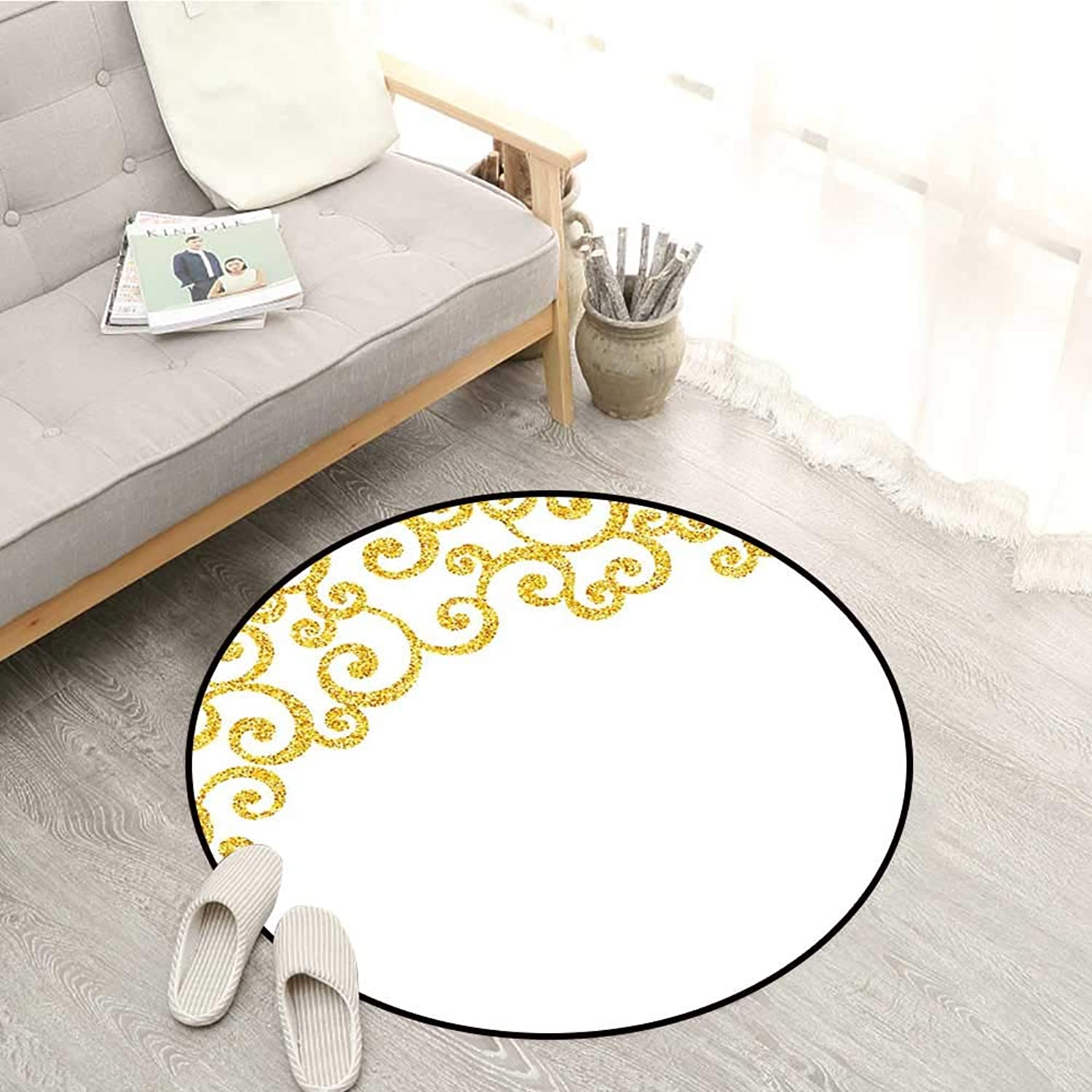 gold and White Non-Slip Rugs Side Frame of Floral Ivy Round Swirl Antique Victorian Details Artwork Sofa Coffee Table Mat 4'7  Yellow and White
