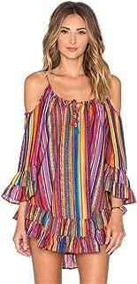 Women Dress, Women's Fashiom Summer Rainbow Print Fringed Beach Loose Strap Chiffon Dress Blouse