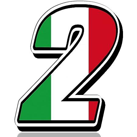 Biomar Labs Startnummer Nummern Auto Moto Vinyl Aufkleber Italien Nationalflagge Flagge Sticker Motorrad Motocross Motorsport Racing Nummer Tuning 2 N 312 Auto