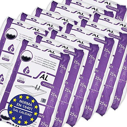 Pack de 300 Kg (12 Sacos de 25 kg.) ENISAL Sal Especial Piscinas – Cumple con la Norma Europea EN 16401/A (Sal Calidad A para Piscinas de electrólisis Salina)