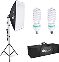 $39 » HPUSN Softbox Lighting Kit Photography Studio Light with 20-inch X 28-inch Reflector and 2pcs 85W 5500K E27 Bulb, Professional Photo Studio Equipment for Portrait Fashion Photography Video, etc.