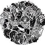 Pegatinas Góticas Pegatinas en Blanco y Negro Pegatinas Góticas de Vinilo Impermeables Pegatinas de Cráneo Góticas Pegatinas de Graffiti Geniales para Equipaje Cuadern (100)