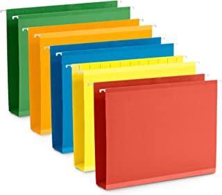 Blue Summit Supplies Extra Capacity Hanging File Folders, 25 Reinforced Hang Folders, Heavy Duty 2 Inch Expansion, Designed for Bulky Files, Medical Charts, Assorted Colors, Letter Size, 25 Pack