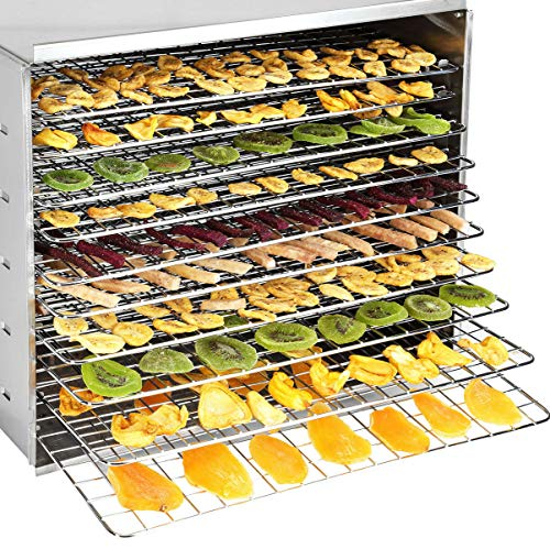 Best Buy! 9TRADING 10 Tray Food Dehydrator Stainless Fruit Jerky Dryer Blower Commercial 1000W