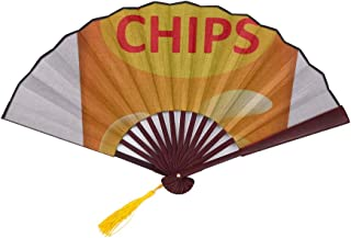 AIKENING Japanese Fan Men Potato Chips Cute Kawaii Food with Bamboo Frame Tassel Pendant and Cloth Bag Funny Japanese Fan Vintage Hand Fan Hand Fans for Men