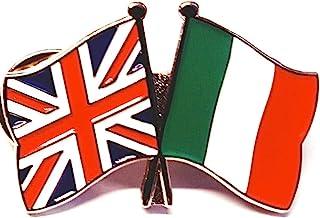 Mainly Metal ™ - Spilla smaltata con bandiere dell'amicizia italiana, Regno Unito, Gran Bretagna, 30 mm
