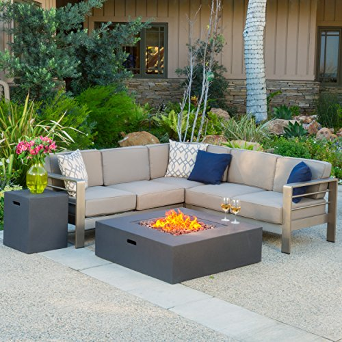 Christopher Knight Home Cape Coral Outdoor V-Shaped Sofa set with Fire Table,...