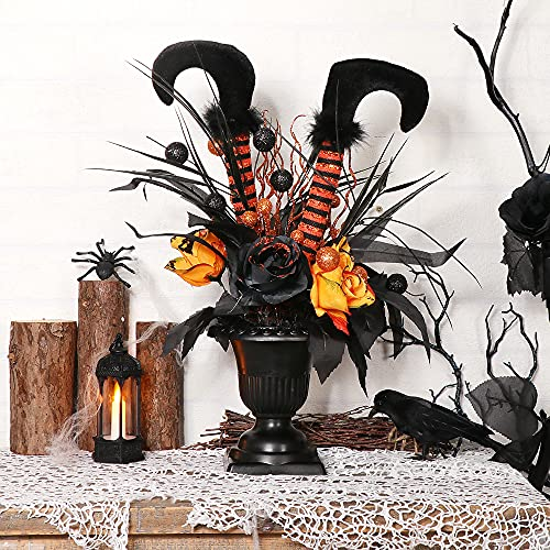 S-DEAL Halloween Decorations Table Artificial Flowers, Halloween Witch Boot and Fake Rose Tabletop Centerpieces Halloween House Haunted Decor