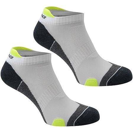 Pack of 2 Pairs Mens Karrimor Running Socks Low Rise Trainer Gym Anti Odour (Mens 7-11, White/Fluo)