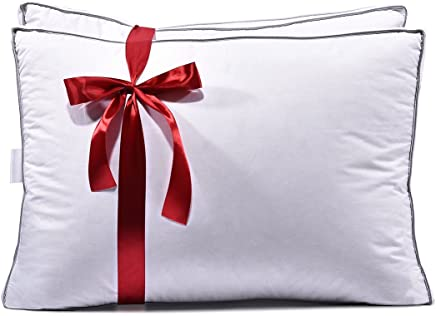 Luxury Hotel Collection Premium White Down Bedding Pillow,  600 Fill Power,  100% Egyptian Cotton Shell,  Hypoallergenic,  With 2'' Gusset,  Pack Of 2,  (King Size 18x34'')