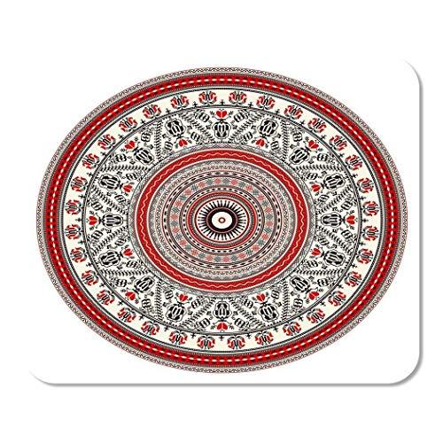 25X30cm Alfombrilla de Ratn Disfraz Artstico Folklore Redondo Rumano Tradicional Europeo Rojo Rojo