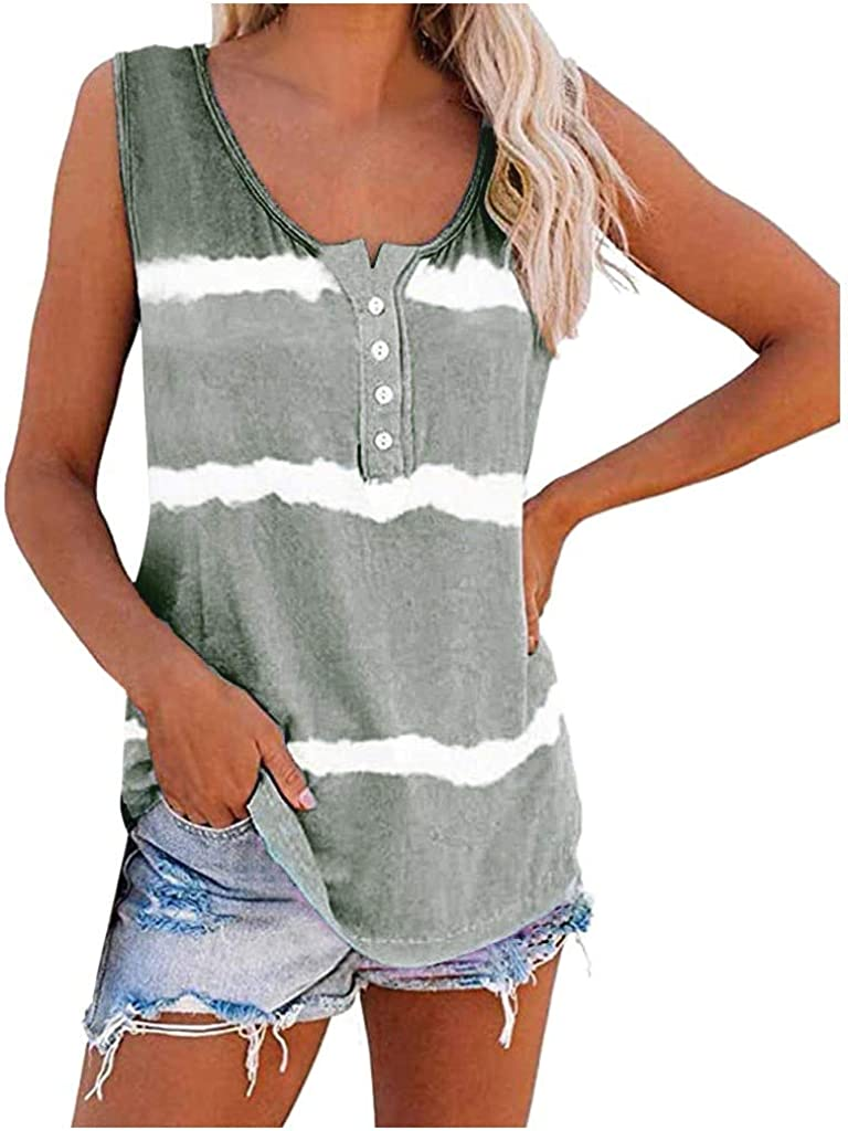Tank Tops for Women Trendy Fashion Striped Tie Dye Top Vest Buttons Casual Loose Blouse Sleeveless Scoop Neck Shirts