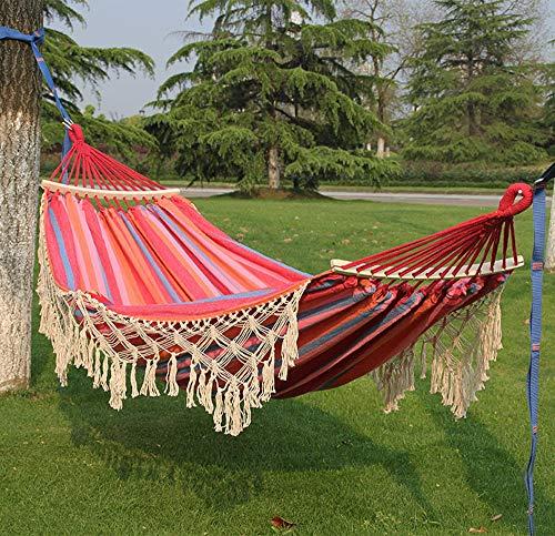 Unknow Portable Hammock Adulti Swing Kids Amache Sedia per Giardino Viaggio Camping, Traspirante Tessuto della Banda della Tela di Canapa con la Nappa e Legno Spreader Bar, Rosso