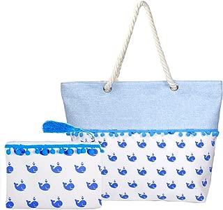 Me Plus Women Beach Bag and Pouch 2 Pieces Set Tote Shoulder Bag Travel Organizer Pouch