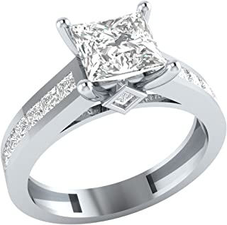 Demira Jewels Solid 10k White Gold Princess Cut Cubic Zirconia Solitaire Wedding Engagement Ring