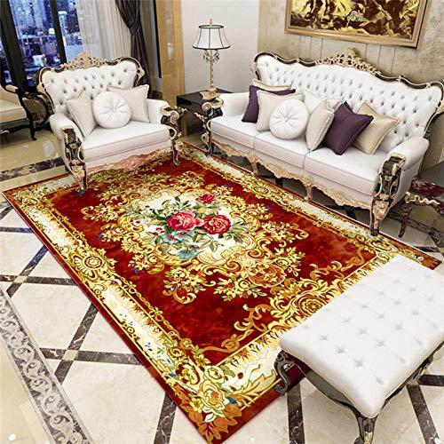 La alfombras alfombras Dormitorio Matrimonio Fácil Limpio Rojo Amarillo diseño Floral Alfombra Antideslizante Decoraciones para Habitaciones Alfombra habitacion Bebe 180X250CM