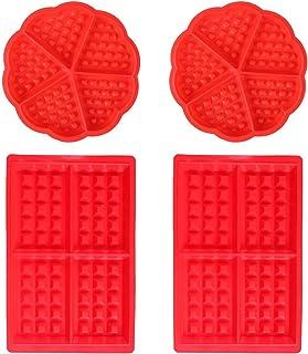 Moldes Waffles - WENTS Molde de Silicona para Waffle Anti Adherente Bandeja para Hornear Waffles Gofres Bandeja Moldes para Hornear Corazón y Rectángulo 4 PCS