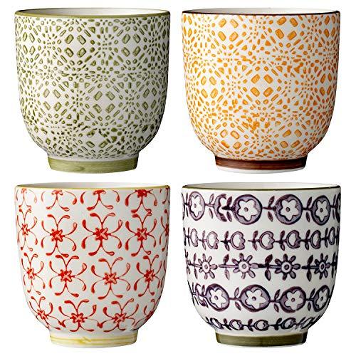 Bloomingville kleine Becher Isabella, rot grün gelb lila, Keramik, 4er Set