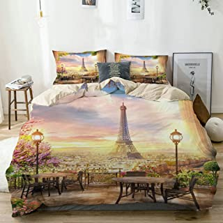 Mokale Duvet Cover Queen,French Dreamlike Paris Eiffel Tower Flowers City View Photography Background,100% Washed Microfiber 3pcs Bedding Set with 2 Pillow Shams,Reversible Beige,Zipper Closure