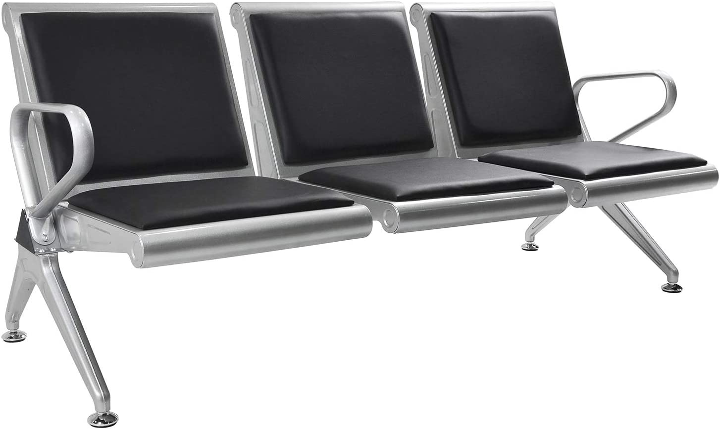 Bestmart 3-Seat Airport Reception Waiting Room Chair with PU Leather for School,Hospital,Barber Shop,Market