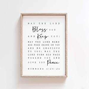 Dwi24isty Farmhouse Frame Wood Sign, May The Lord Bless You and Keep You, Numbers 6:24-26, Scripture Art, Farmhouse Decor Bible Verse Wall Art Print, Christian Wall Art, 8 x 12 Inch Rustic Wood Sign
