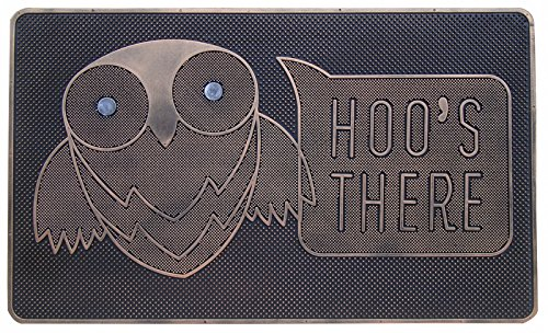 A1 Home Collections Hoo's There Owl Rubber Pin Doormat, 18 X 30 Inch, Non Slip Rubber Backing.