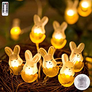 String Lights Bunny Shape,13ft 40LEDs Copper Wire Battery-Operated with Remote-8 Modes Timer for Indoor Outdoor, Wedding, Birthday Ornament, Patio, DIY Home Parties
