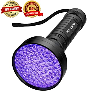 UV Blacklight Flashlight, Ka June Upgraded 395nm 100 Led Ultraviolet Flashlight Professional Pet Urine Stains Detector for Dog/Cat, Scorpions Hunting, UV Light for Home & Hotel Inspection