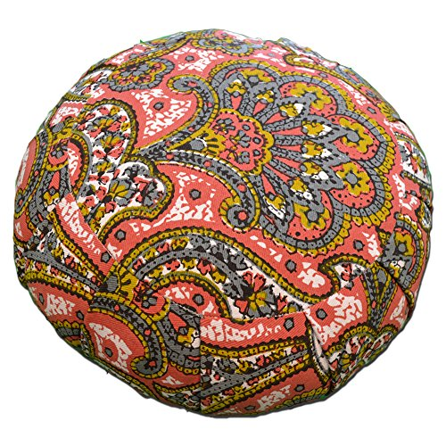 YogaAccessories Round Cotton Zafu Meditation Cushion - Red and Gold