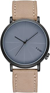 SMTSMT TOMI Men 's Bussiness Retro Design Watches Leather Round Band Watch with Box