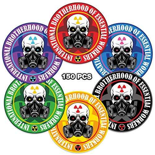 150 Pieces 2 Inches Essential Worker Stickers Hard Hat Sticker Large Round Decals Waterproof Helmet Decal Set for Entire Worker Team or Construction Crew