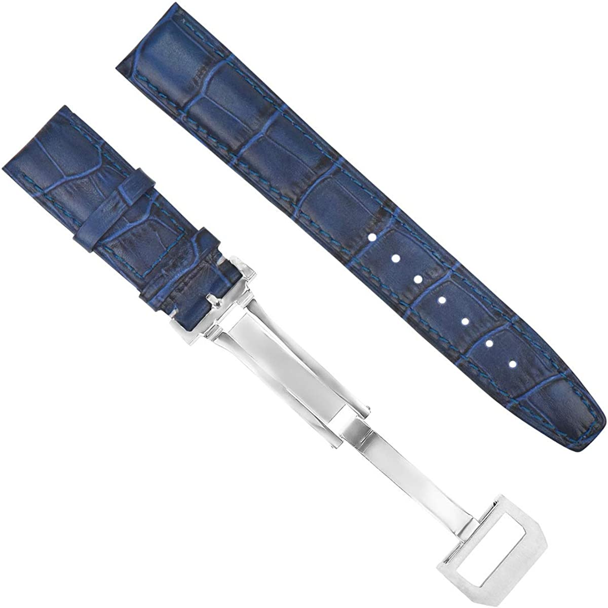 20mm Leather Watch Band Strap with Deployment Compatible Spasm price Pil Iwc Chicago Mall