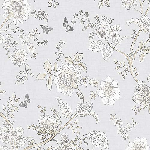 Norwall FH37538 Butterfly Toile Prepasted Wallpaper, Grey, Beige, Dove