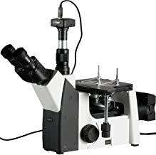 AmScope ME1200TB-M Digital Inverted Trinocular Metallurgical Microscope, 50X-1000X Magnification, PL10x and PL20x Eyepieces, Polarizing Condenser, Brightfield and Polarizing LED Illumination with Rheostat, Large Double-Layer Mechanical Stage, 90-240V, Includes 1.3MP Camera with Reduction Lens and Software