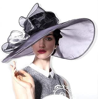 Hats Summer Pure Color Bowknot Big Along Hat Beach Cap Beach Hat Sun Hat Fashion (Color : Grey)