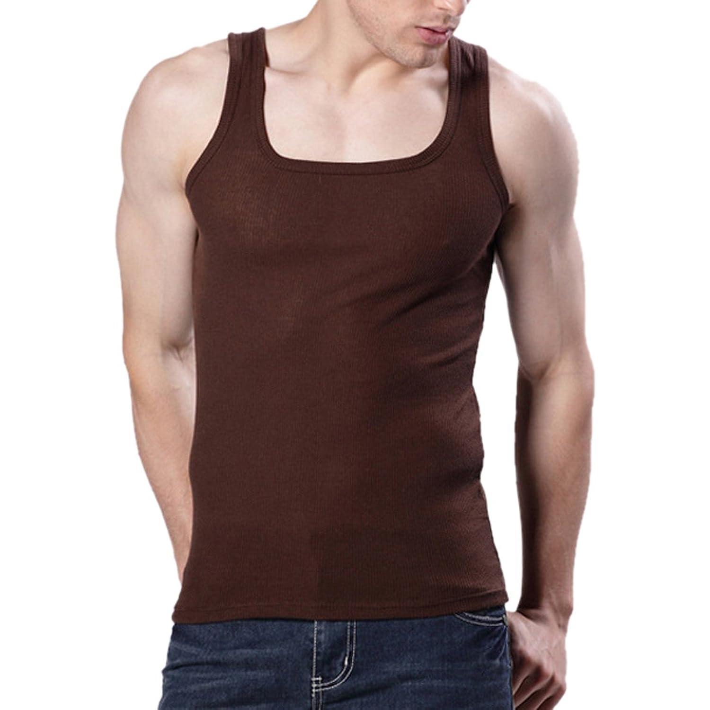 MJARTORIA メンズ 綿製 快適 純色 シンプル 無地 スリム 部屋着 スポーツ用 タンクトップ (2XL, ブラウン)