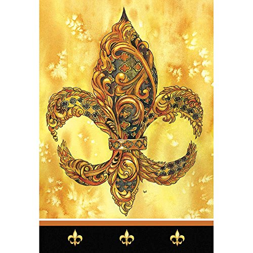 Magnolia Garden Black and God Color Feathered Fleur de Lis 44 x 30 Rectangular Screenprint Large House Flag
