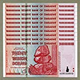 Zimbabwe 20 Trillion Dollars x 10 pcs AA 2008 P89 Consecutive UNC Currency Bills -