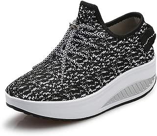 JARLIF Women's Platform Wedges Tennis Walking Sneakers Comfortable Lightweight High Heel Fitness Shoes