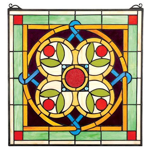 Stained Glass Panel - Celtic Floral Quatrefoil Stained Glass Window Hangings - Window Treatments