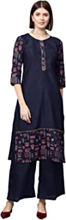 Ziyaa Women's Navy Blue Gold Print + Khadi Print Straight Polysilk Kurta With Palazzo / Salwar Suit Set