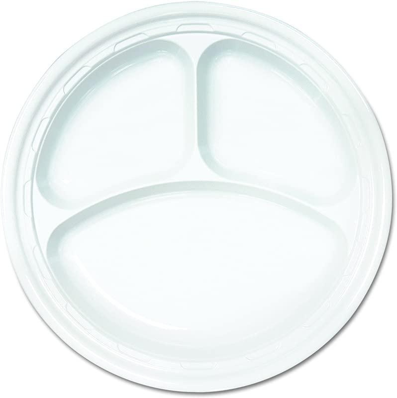 Dart 10CPWF Famous Service Plastic Dinnerware Plate 3 Comp 10 1 4 Dia White 125 Per Pack Case Of 500
