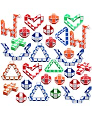 Yeetec 30 Pack 24 Blocks Magic Speed Cubes, Mini Snake Cube, Mini Plastic Puzzle Cube Toy for Kids Party Bag Fillers, Party Supplies, Random Color