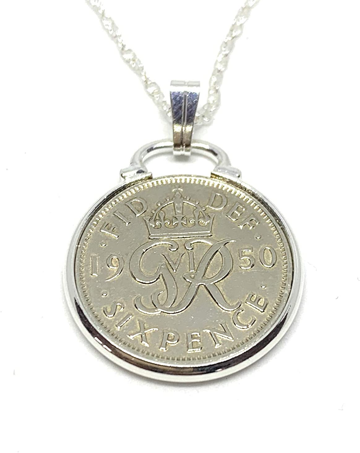 Cinch Pendant 1950 Lucky sixpence Sterling Challenge the lowest price of Japan ☆ Online limited product plus Birthday 71st a