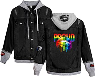 APHT Mujers Hombres LGBT Gay Lesbian Pride Denim Jacket uterwear Casual Solapa Manga Larga Rainbow Denim Jacket Vintage To...