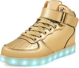 a5dde7237a76 PRETTYHOMEL Kids Boy and Girl s High Top LED Sneakers Light up Flashing  Shoes