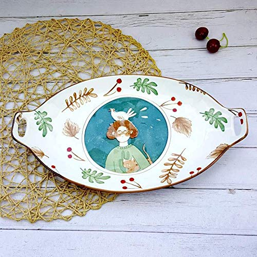 XCY Western Food Plate Children's Fruit Plate Dinner Plate Home Plate Snack Plate Creative Ceramic Dinner Plate,Long Oval Disc