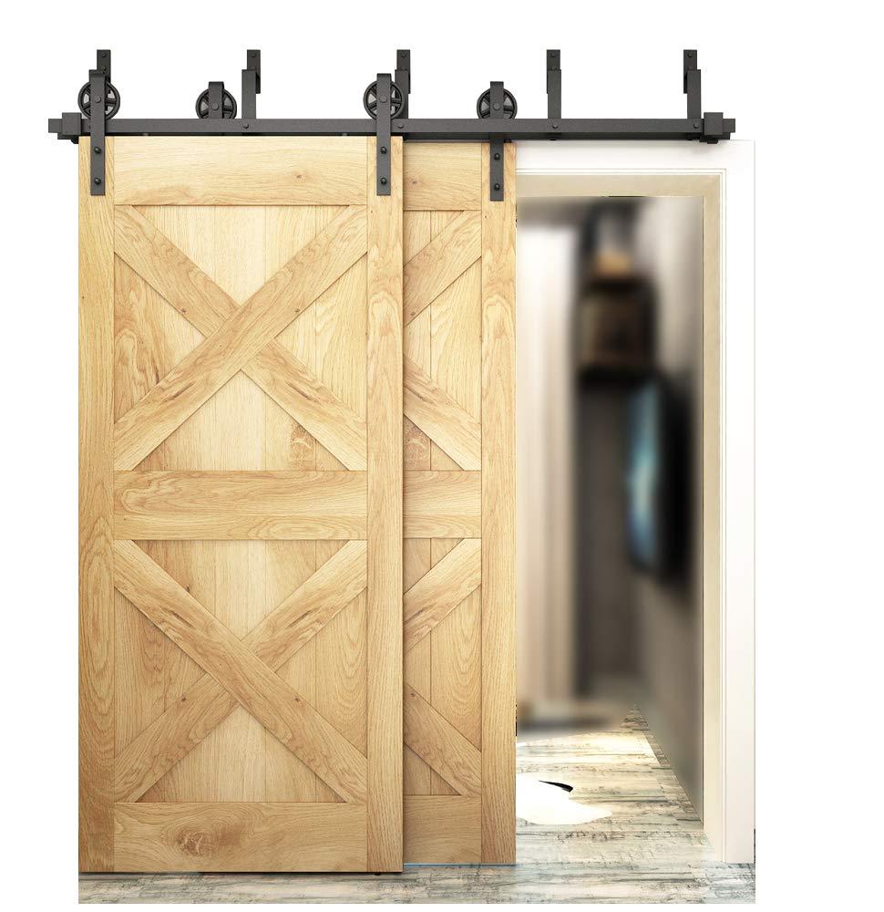 barn door closet amazon comdiyhd 5 5ft bypass big wheel sliding barn wood door track hardware interior closet door kitchen