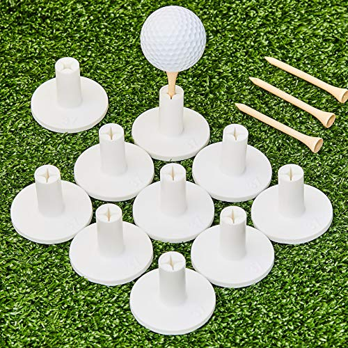10 Set Golf Rubber Tee Holder Set for Driving Range Golf Practice Mat Indoor Outdoor Size 1.5 Inch (10 Golf Rubber Tee Holders, 10 Bamboo Tees)